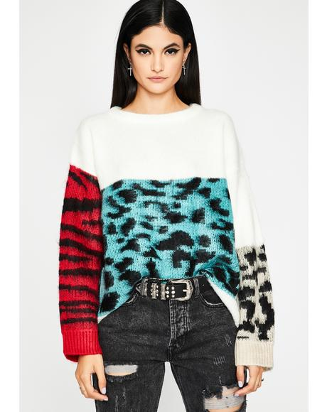 Boo Color Me Kitty Chunky Sweater