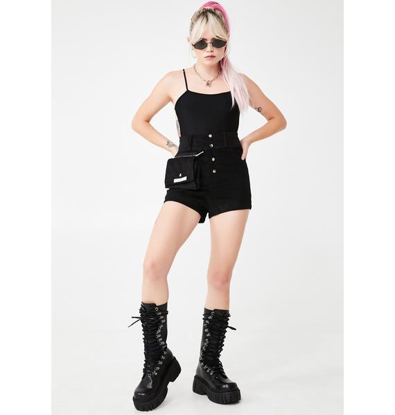 My Mum Made It Black Corduroy Cosmetics Case Shorts