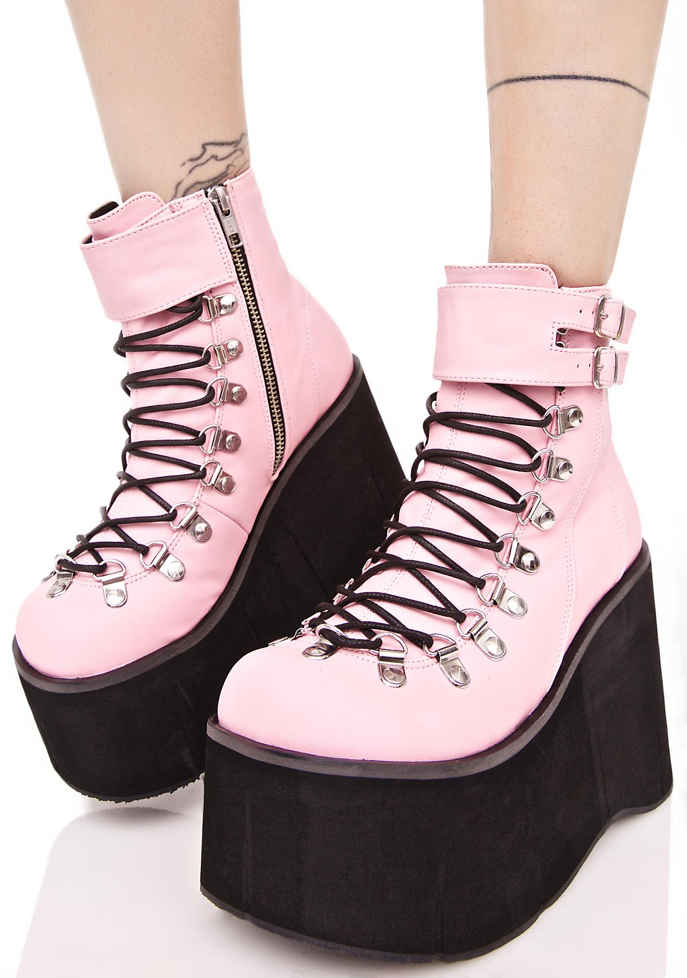 dc8b1b6e20 Demonia Sweetie Kera Lace-Up Platform Boots
