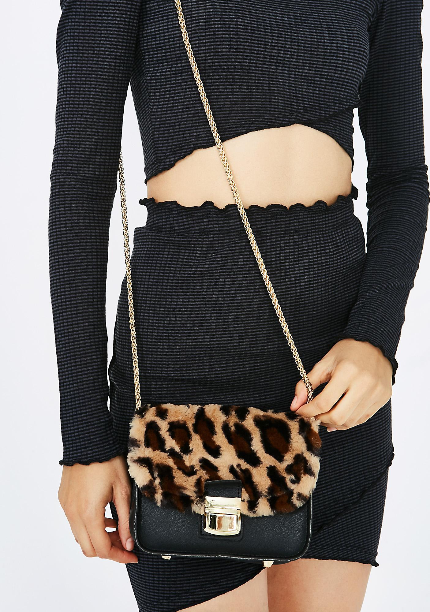 Furry Leopard Print Chain Bag   Dolls Kill e34caef34a