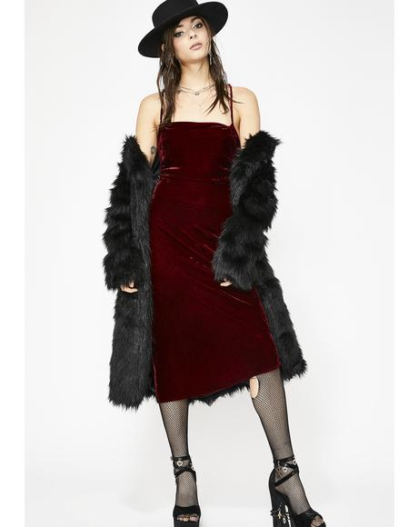 Wine N' Dine Velvet Midi Dress