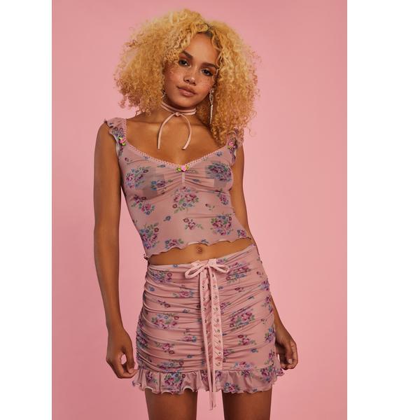 Sugar Thrillz All A Dream Lace Up Skirt