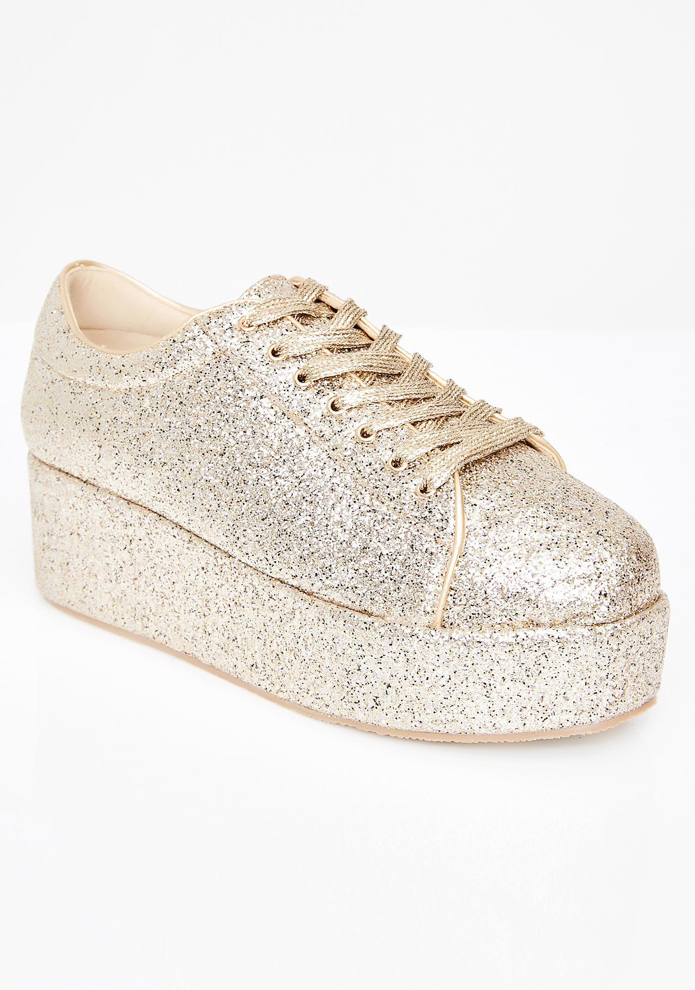 Gold Platform Sneakers | Dolls Kill