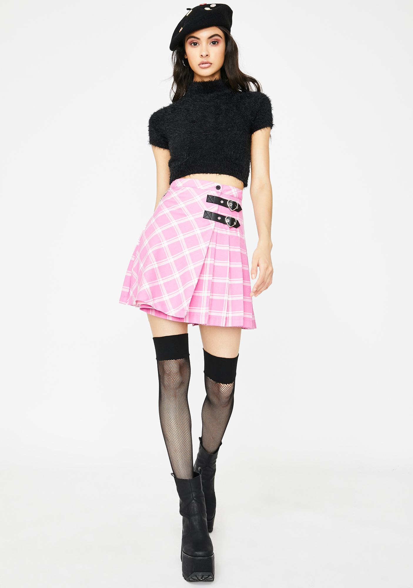 Lazy Oaf Check And Chain Kilty Pleated Skirt