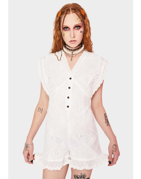 White Lace Button Down Playsuit