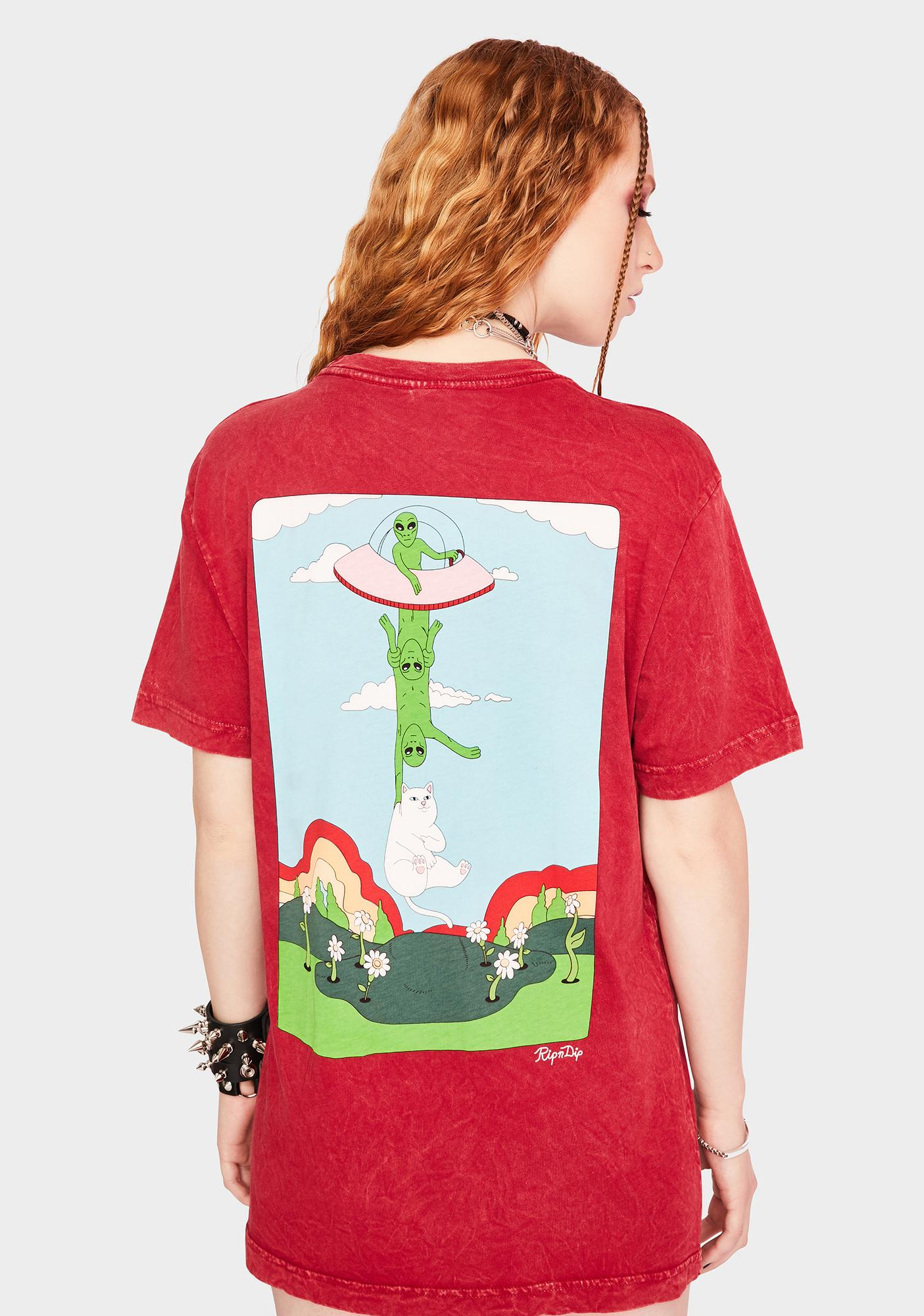 RIPNDIP Red Abduction Pocket Graphic Tee