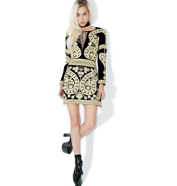 For Love & Lemons Ornate Velvet Mini Dress