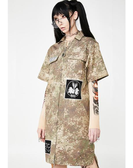 Camo Zipper Dress With Patches