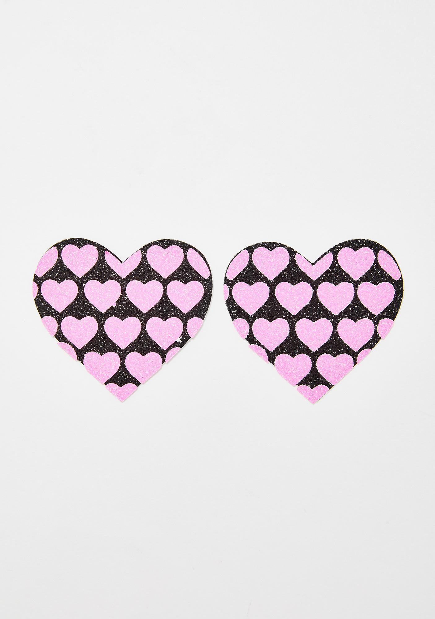Neva Nude Glitter UV Heart On Hearts Pasties