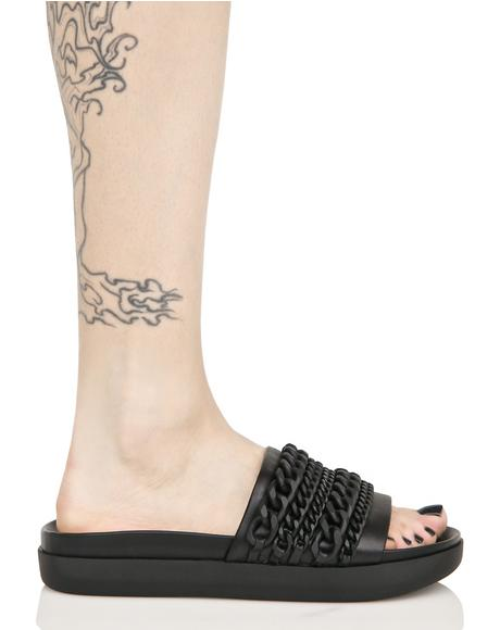 Onyx Slide Sandal With Chains