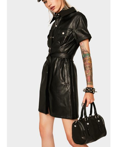 Highway Vegan Leather Mini Dress