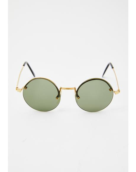 Green Rounders Sunglasses