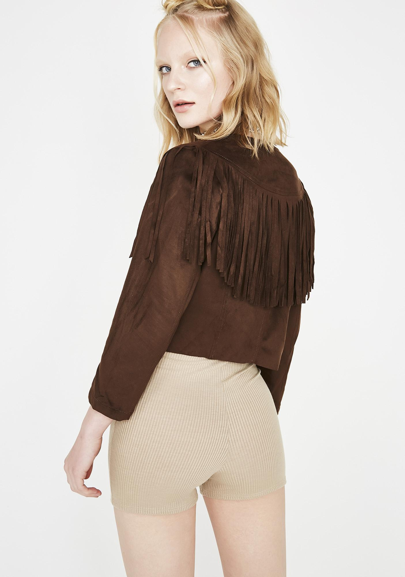 Chocolate Desert Fox Fringe Jacket