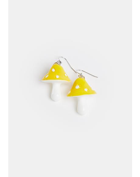 Sun Down The Rabbit Hole Mushroom Earrings