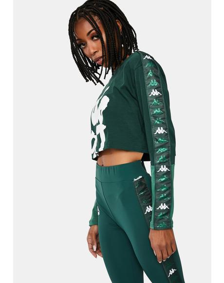 Green 222 Banda Baloys Long Sleeve Crop Top