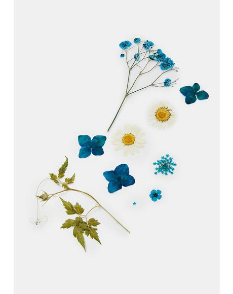 Blue Pressed Flower Cosmetic Decals