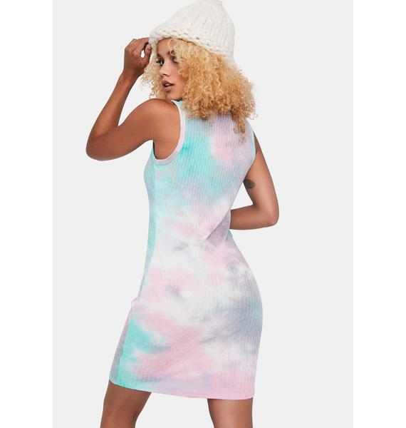 Minty Sun Burst Tie Dye Mini Dress