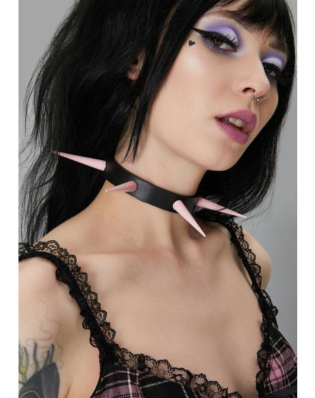 Pink Long Spike Choker