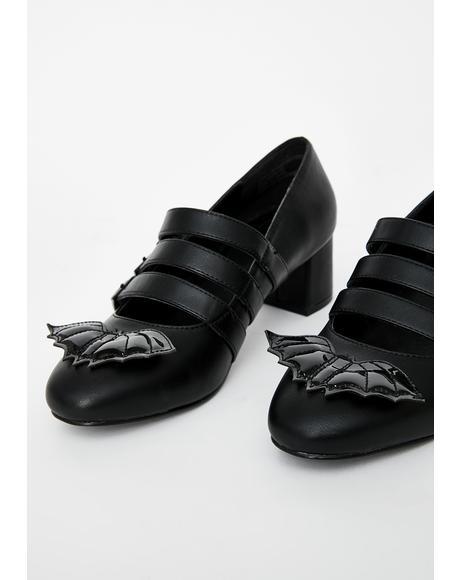 Patent Bat Block Heels