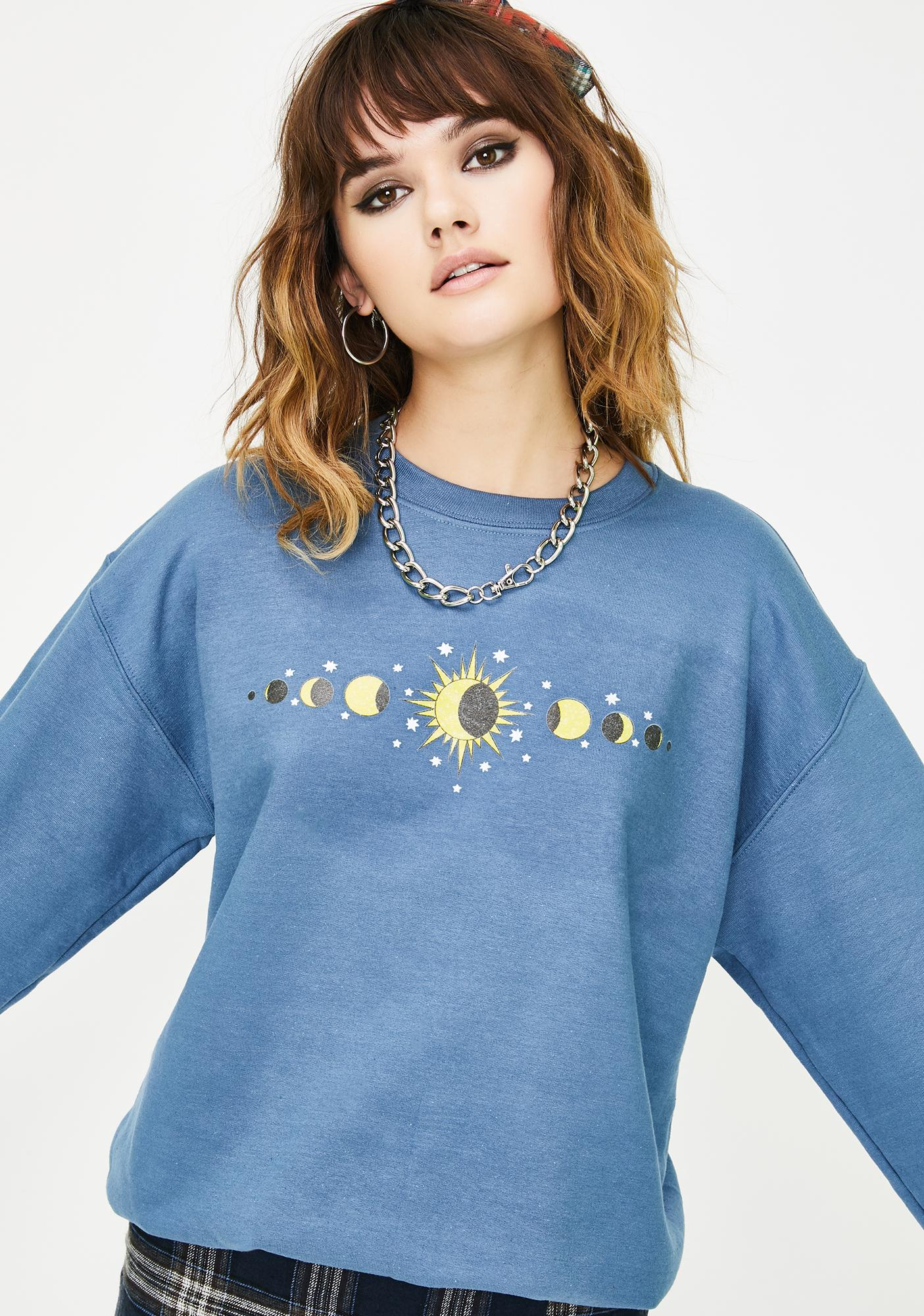 Phases Of The Moon Crew Neck Pullover by Daisy Street