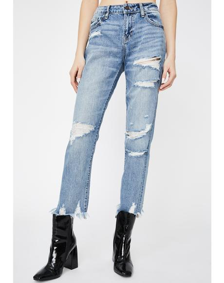 Medium Wash Bailey Distressed Boyfriend Jeans