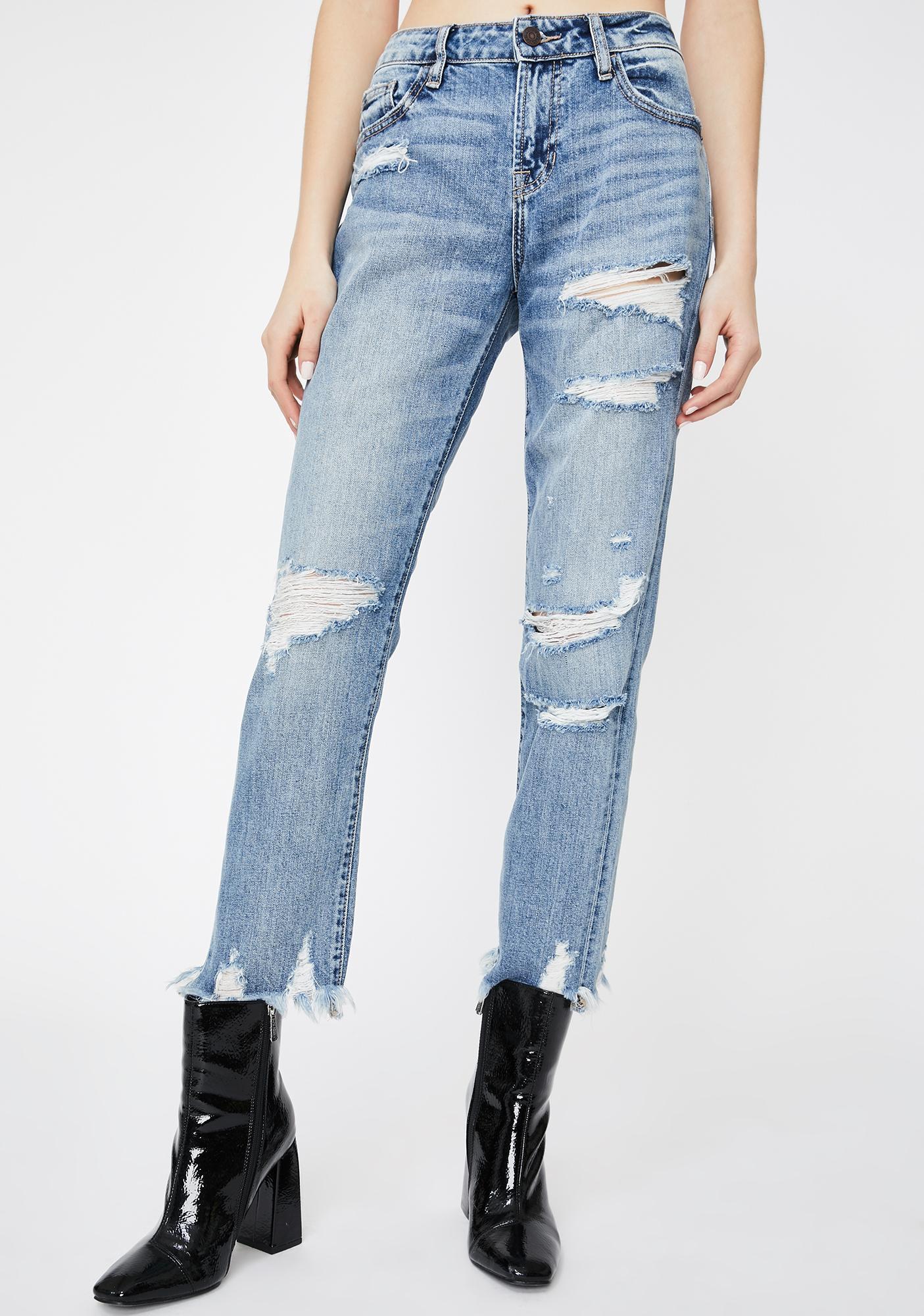 Hidden Denim Medium Wash Bailey Distressed Boyfriend Jeans