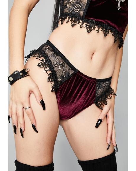 Crimson Morphine Eyes Velvet Panties