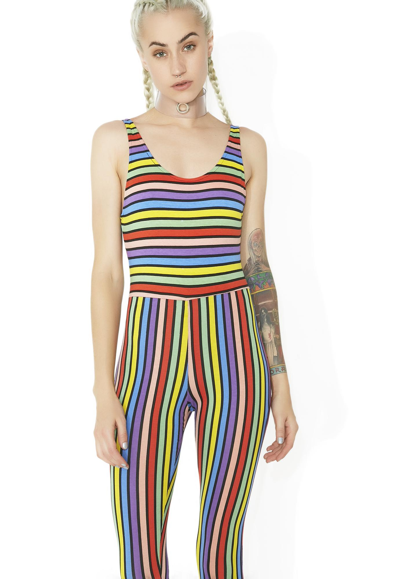 f3ce446b91 Motel Over The Rainbow Striped Jumpsuit