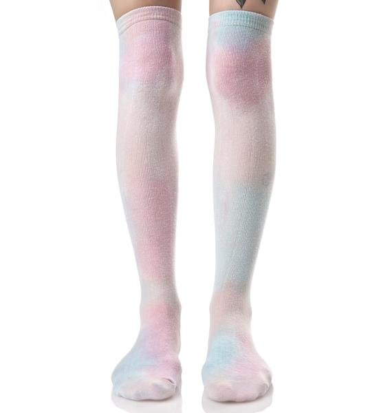MeYouVersusLife Cotton Candy Over The Knee Socks