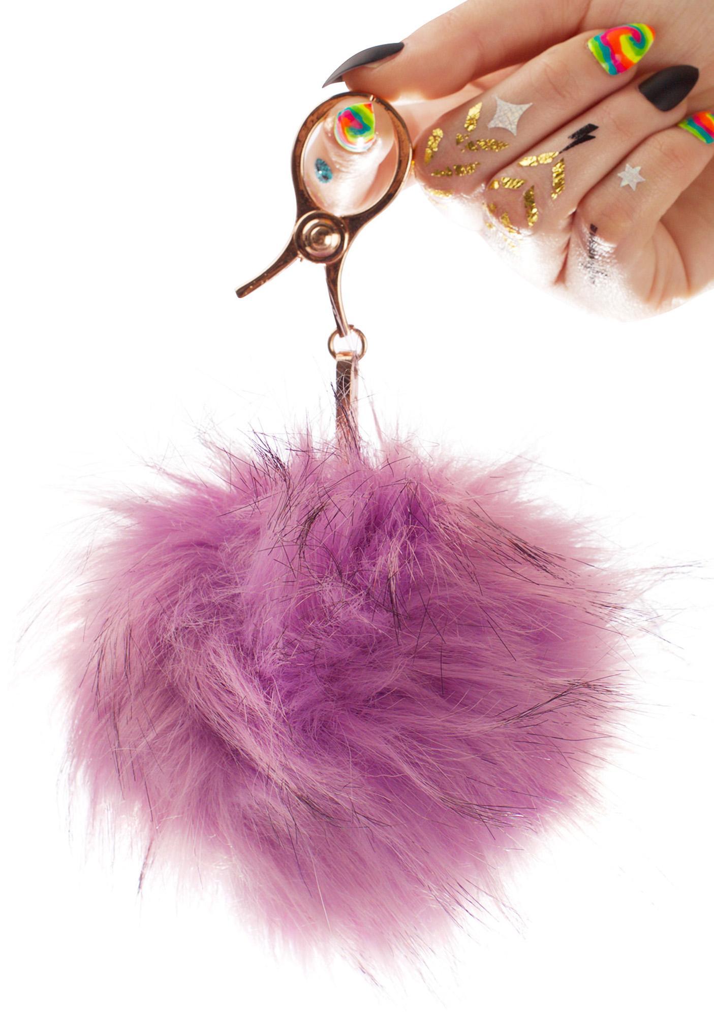 BB Gurl Lavender Furry Pom Keychain