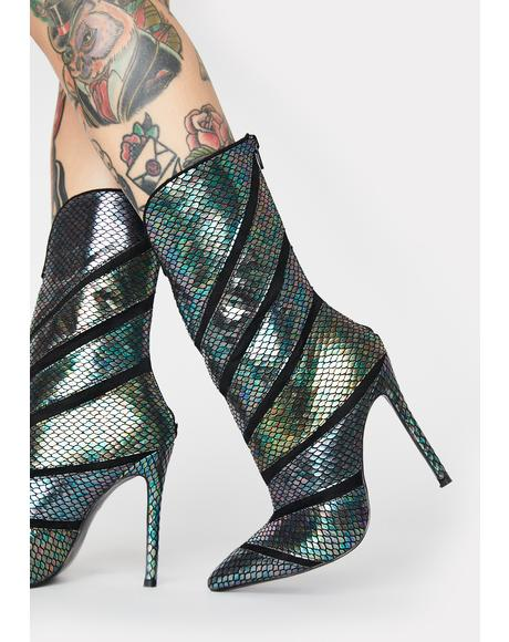 Plushin Metallic Snakeskin Boots