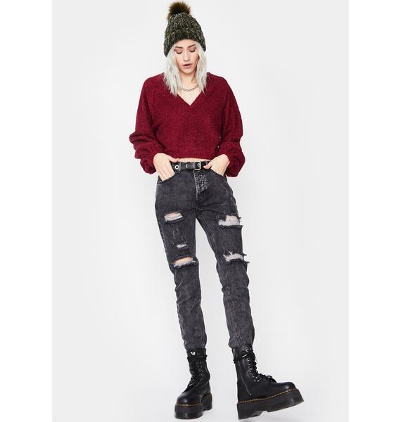 Hot Reckless Pursuit Crop Sweater