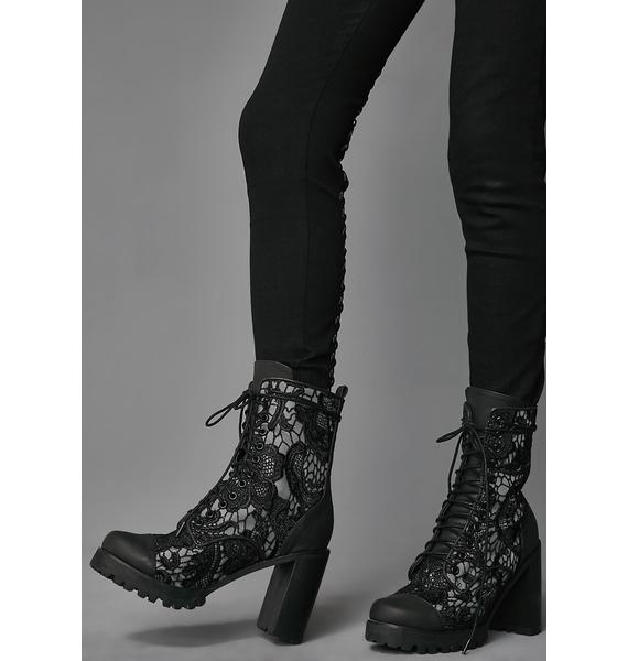 Widow Lullaby Lace Modern Boots