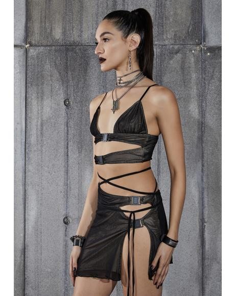 Snare Mesh Overlay Cut-Out Buckle Skirt Set
