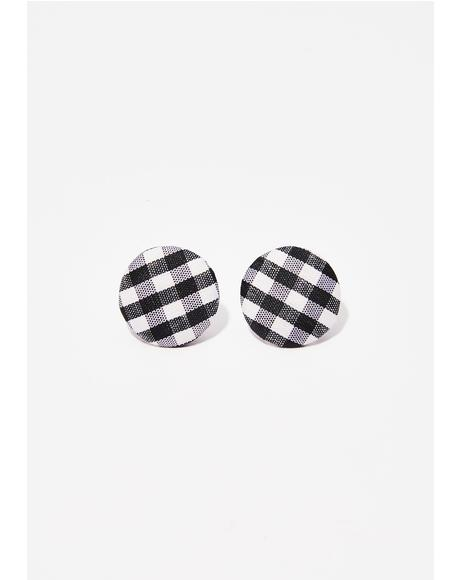Dark Makin' Memories Gingham Earrings