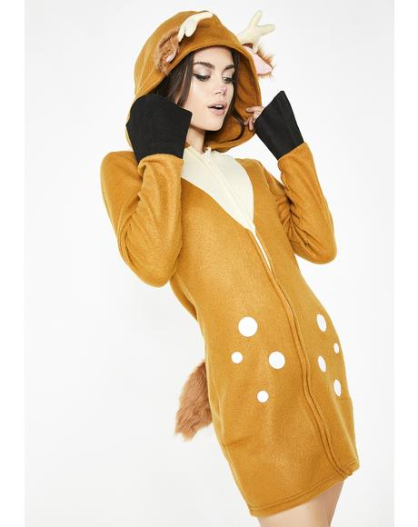 Flirty Fawn Hooded Dress