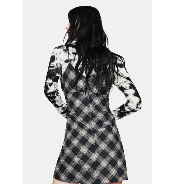 Motel Valy 20s Check Black Grey Slip Dress