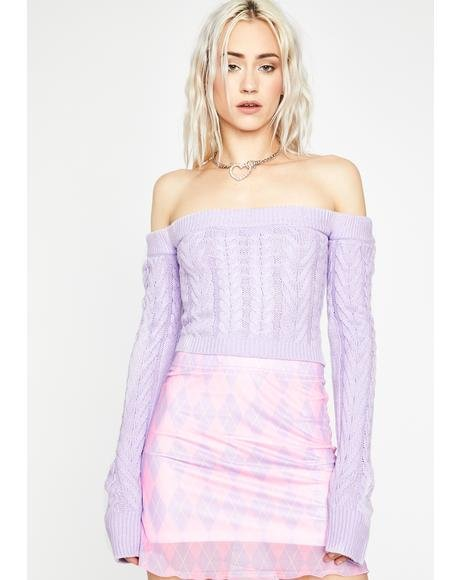 Fairy Takin' Cues Cable Knit Sweater