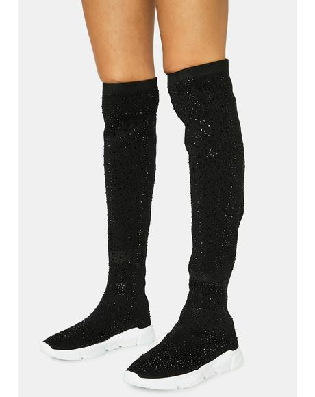Baddie Nation Knee High Rhinestone Sneaker Boots