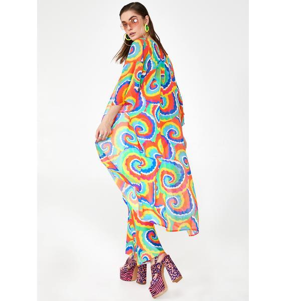Tara Khorzad Cartoon Tie Dye Kimono