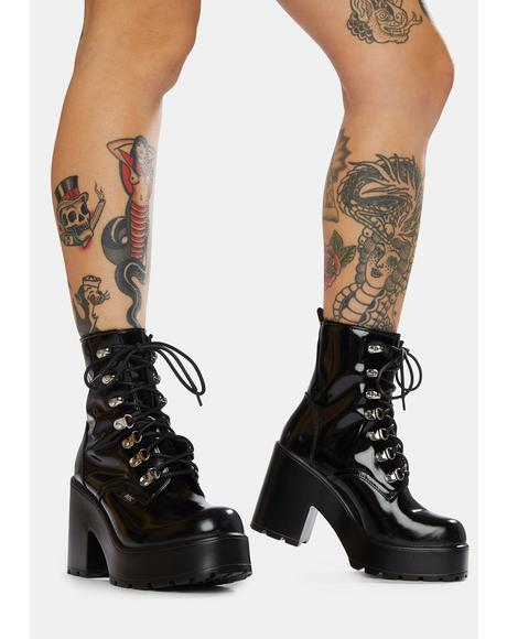 Mission Patent Leather Combat Boots