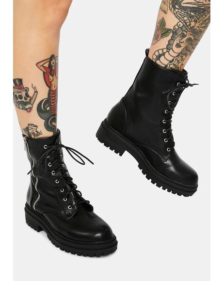 Strong Suit Zip Detail Combat Boots