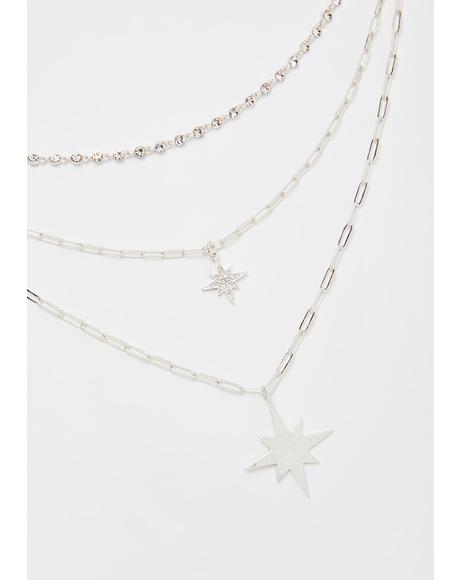 Icy Stars Align Layered Necklace
