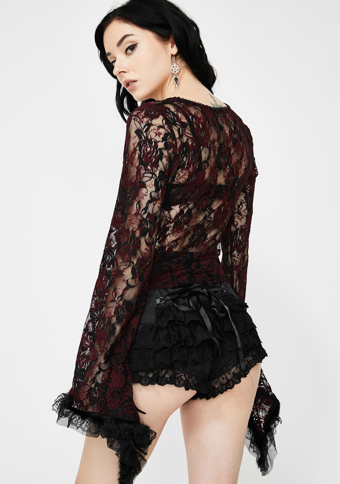 Devil Fashion Wine Red Lace Bell Sleeve Crop Top