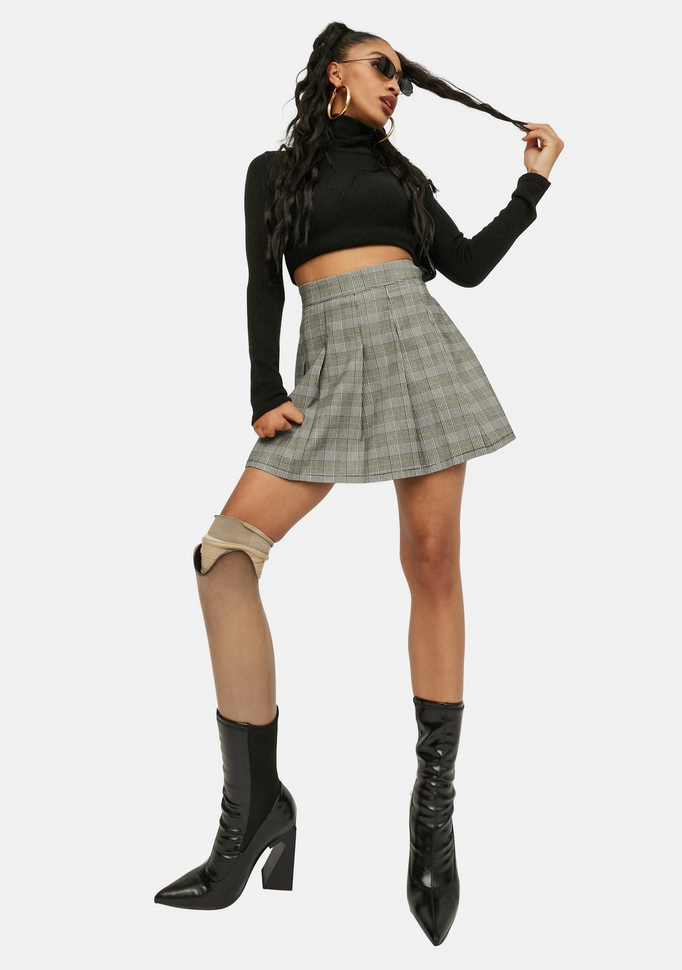 To The Front Plaid Mini Skirt