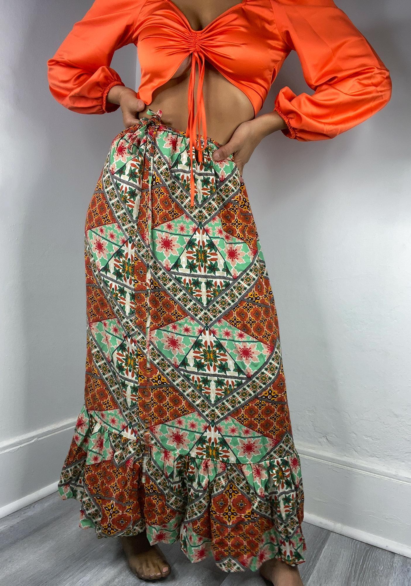 Glamorous Tile Print Maxi Skirt