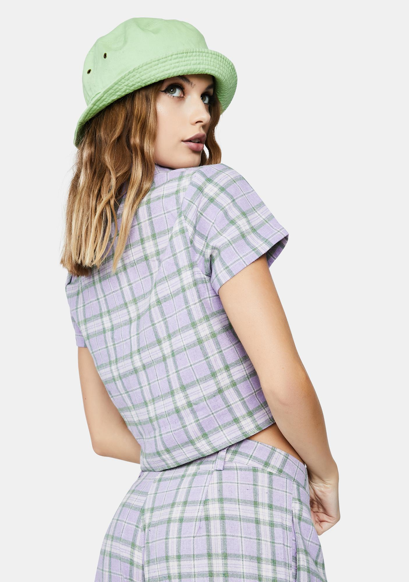 Daisy Street Lilac Checked Tie Front Crop Top