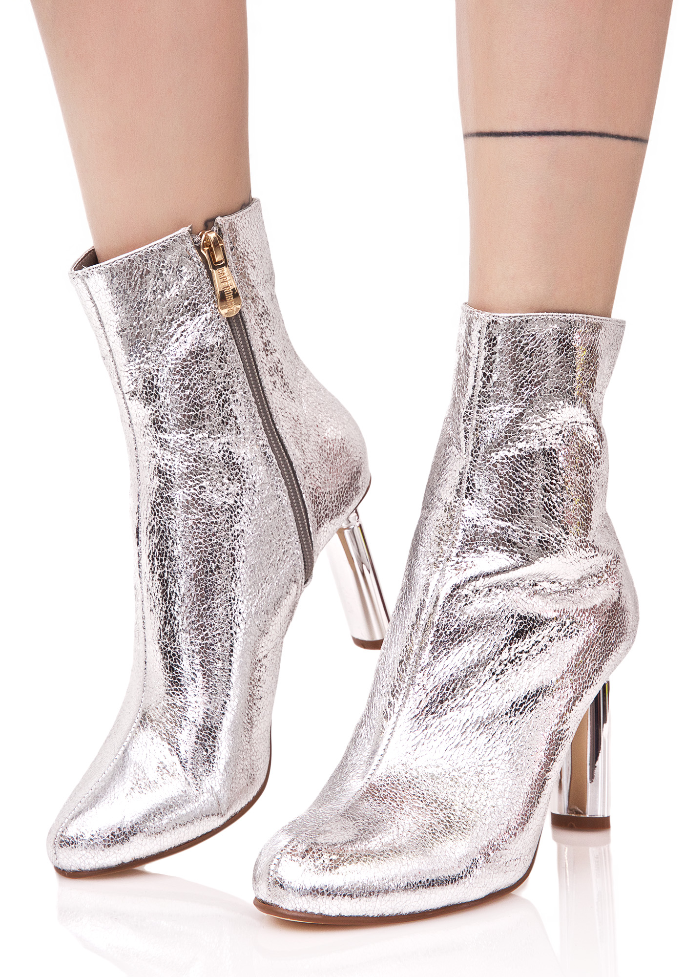 Metallic Silver Contrast Ankle Boots