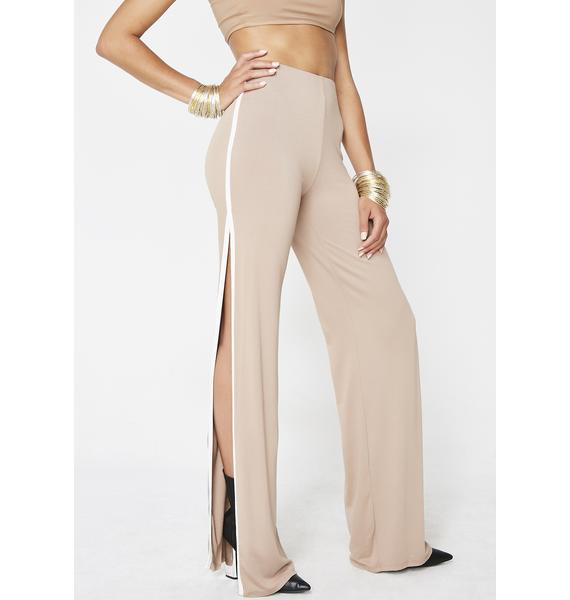 Mocha Walk With Me Split Pants