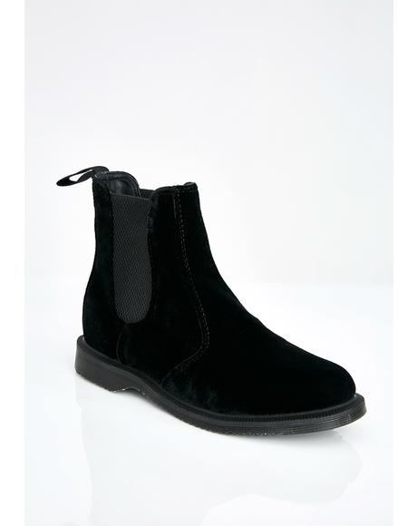 Flora Velvet Chelsea Boots
